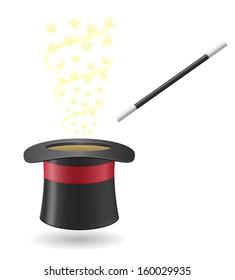 magic wand and cylinder hat illustration isolated on white background