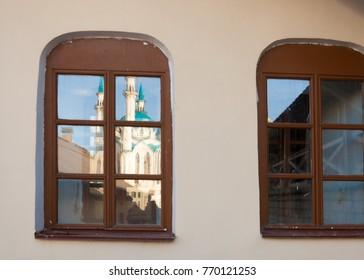 magic window. Classic window frame. Close-up shot  wooden window.