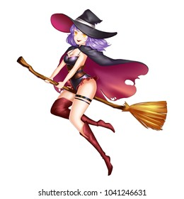 Magic Witch Girl with Anime and Cartoon Style. Video Game's Digital CG Artwork, Concept Illustration, Realistic Cartoon Style Character Design