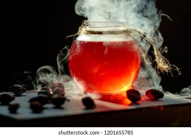 Magic and wizardry concept. Set of sorcery book and magic potion. Alchemy and halloween concept.