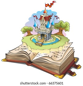 Magic world of tales, fairy castle appearing from the old book, raster from vector illustration