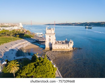 Magical aerial panoramic sunset view of the Belem tower in Lisbon, Portugal