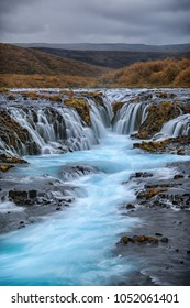The magical, blue waterfall. Most beautiful waterfall in Iceland. Bruarfoss Waterfall_001