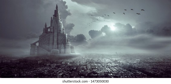 A magical castle in a mystical city with a gloomy fog enveloping everything.