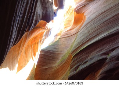 The magical colours and textures inside red rocks of Slot red Canyon Danxia landform
