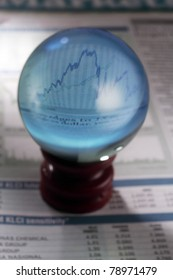 magical crystal ball on the finance section of newspaper