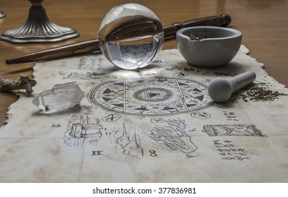 Magical elements are gathered together ready to cast a magic spell