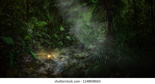 A magical evening in the jungle near Davies Creek,Queensland,Australia.An old kerosene oil lamp shimmering in the dusk while the fog is covers the creek.The lamp light leaping shadows on the leaves.