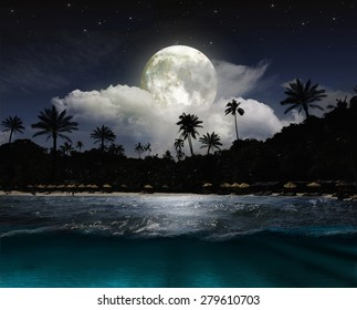 Magical evening on the ocean and the moon