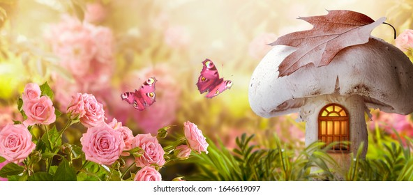 Magical fantasy elf or gnome mushroom house with window and flying butterflies in enchanted fairy tale garden, fabulous fairytale blooming pink rose flower field, shiny glowing sun light in morning