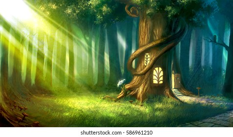 magical fantasy fairy tale scenery of tree house at night in a forest