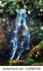 Magical Fantasy Waterfall with Water Droplets in Nordeste, São Miguel, Azores, Portugal