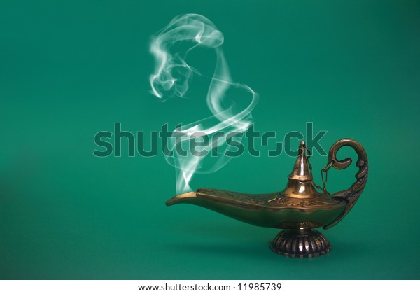A magical genie lamp with smoke.