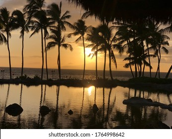 Magical Hawaiian spring sunset reflecting over the water