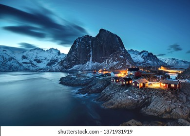 magical landscape at the arctic circle - Hamnoy fishing village at night