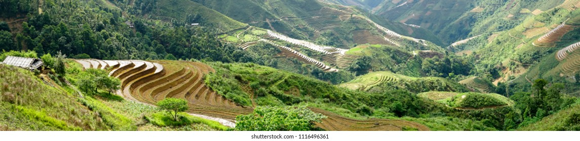 The magical landscape of terraced fields of ethnic people in the high mountainous area in Ta Xua, Son La province, Vietnam