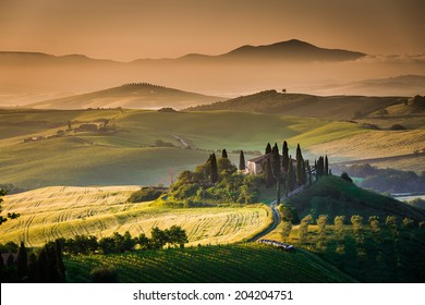 Magical morning scene, Tuscany, Val d'Orcia beautiful landscape in Italy