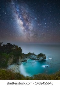 Magical Night At Big Sur With Milky Way Over McWay Falls