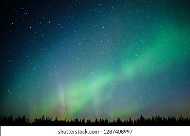 Magical Northern light in far away North of Alaska, US aurora adventure, dancing sky, lights on the sky