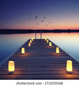 magical place at the lake, romantic evening on wooden jetty at the beach