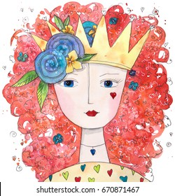 Magical Queen of Love with hearts and flowers. Hand drawn watercolor illustration.