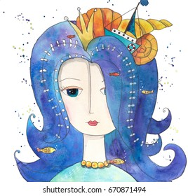 Magical Queen of Sea with fishes, boat, seashells. Hand drawn watercolor illustration.