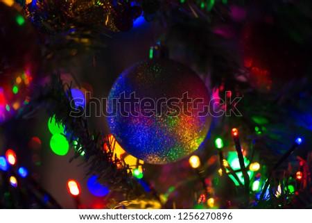 Magical Rainbow Christmas Ball Hanging On Stock Photo Edit Now
