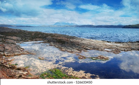 Magical Scottish Highlands Sea Landscape, Rocks, Coastline, Nature of Scotland, United Kingdom