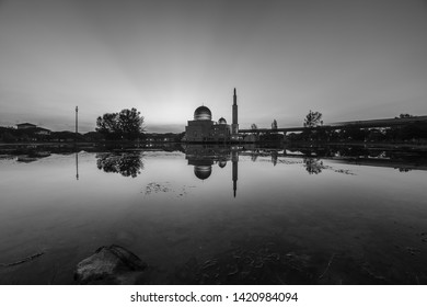 Magical sunrise hour at floating mosque, Masjid As Salam, Puchong with reflection on the water lake