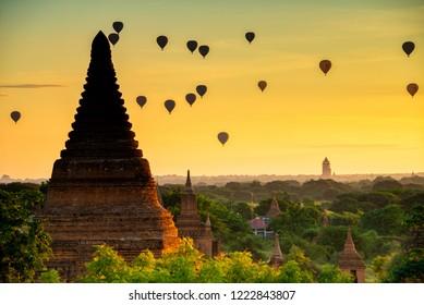 Magical Sunrise Old Bagan, Myanmar
