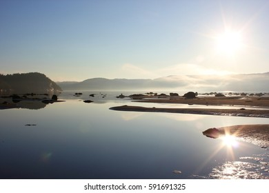 Magical sunrise on the Saguenay Fjord (Quebec, Canada)