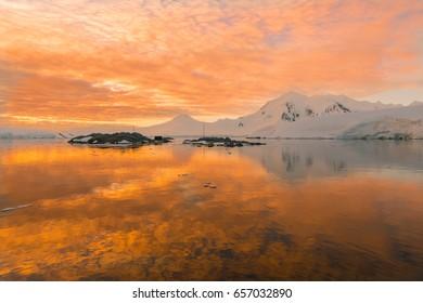 Magical sunset in Antarctica