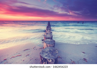 magical sunset at the coast - summertime at the beach