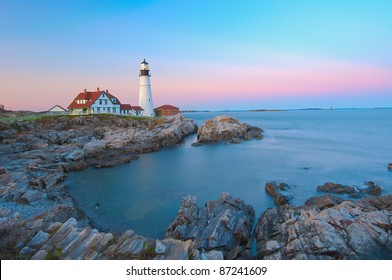 Magical sunset at the iconic Portland Head Light. Portland, Maine
