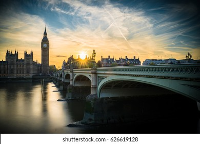 Magical sunset in London with sun flare, UK