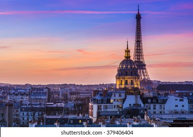 A magical sunset in Paris coloring the entire city.