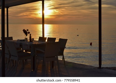 Magical sunset from a restaurant by the sea