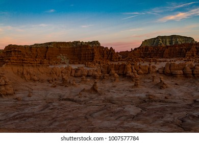 Magical sunset view of Goblin Valley State Park near Moab Utah USA.