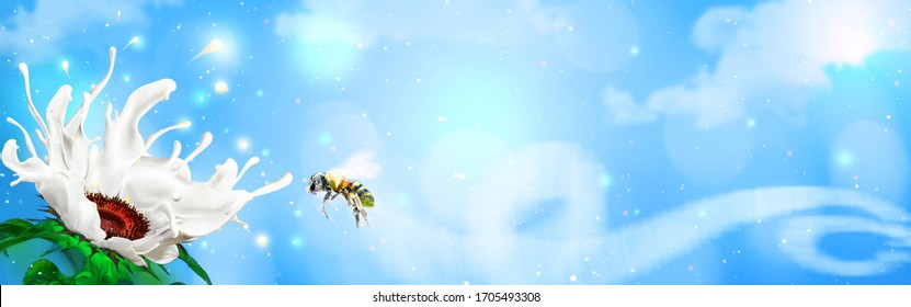 Magical white splashing milk flower attracting a bee. Header banner advertisement concept with wide copy space.
