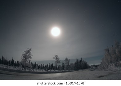 A Magical winter night sky in Finnish Lapland Levi