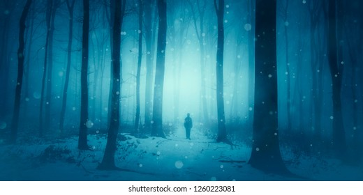 magical winter scene, man walking on snowy path in forest