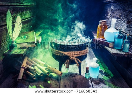 Magical witcher cauldron with