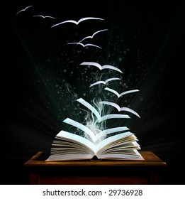 The magical world of reading: magic book with pages transforming into birds