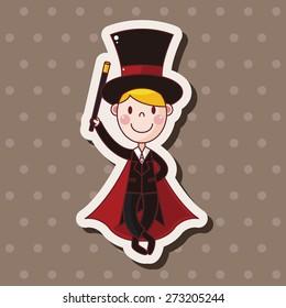magician , cartoon sticker icon