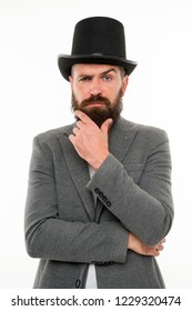 Magician character. Want some magic trick. Magician trick performance concept. Circus magic trick performance. Magician circus worker. Man bearded guy thoughtful face solve problem as magician.