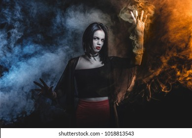 A magician girl portrait with smoke