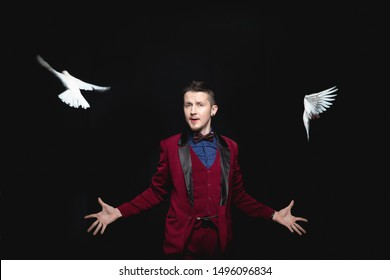 Magician man shows trick with trained two white dove bird.