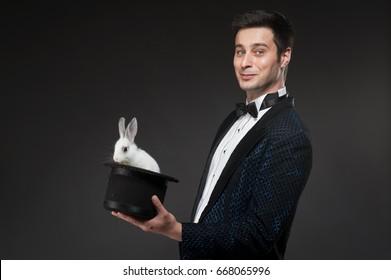 Magician with rabbit, Juggler man, Funny person, Black magic, Illusion