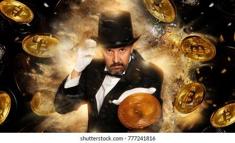 Magician throwing bitcoin coin