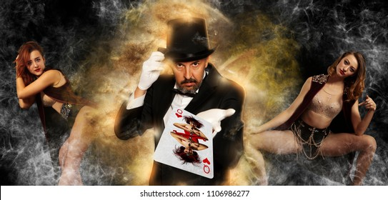 Magician in top hat showing trick on woman background